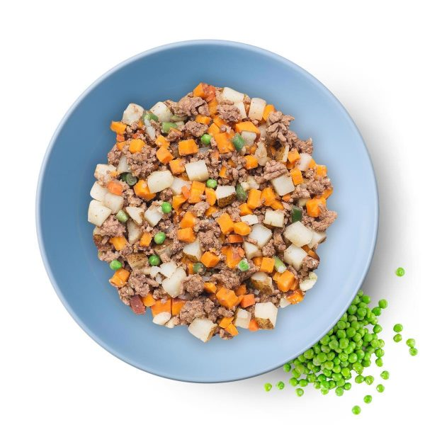 a plate of dog food